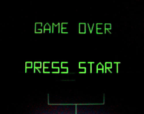 """Game Over"" screen from the '80s arcade game ""Battlezone"""