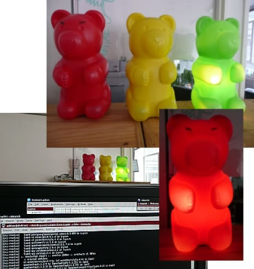 "Last.fm\'s red, yellow and green ""build bears\"""