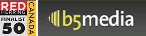 "Red Herring ""Top 50 Canada"" badge and b5media logo"
