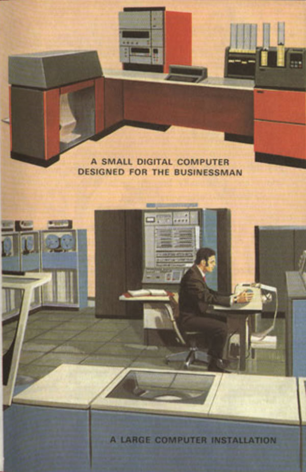 "The way computers were in the seventies: ""A small digital computer designed for the businessman"" and ""a large computer installation"""