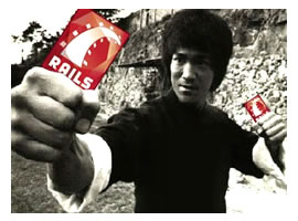 "Bruce Lee, brandishing ""Rails"" nunchucks"