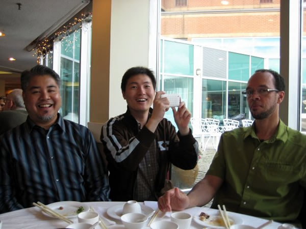Joey deVilla, Libin Pan and Reg Braithwaite having Dim Sum at Sky Garden Restaurant