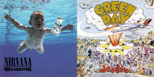 "Album covers: Nirvana's ""Nevermind"" and Green Day's ""Dookie"""