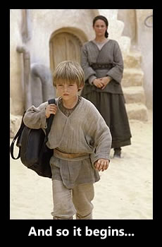 Anankin Skywalker leaves home as his mother Shmi Skywalker watches.