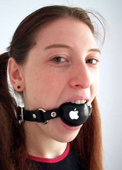 Woman wearing ball gag with Apple logo