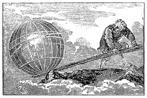 Woodcut of Archimedes and his lever moving a globe
