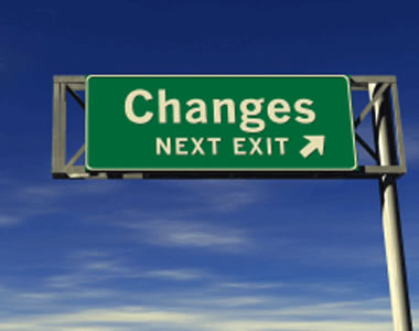 "Highway sign reading ""Changes: Next exit"""