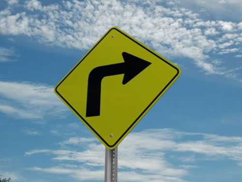 """""""Curve right"""" sign"""