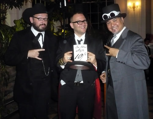 Danny O'Brien, Cory Doctorow and Joey deVilla, in costume at Cory's Wedding