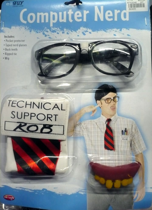 "Nerd costume kit, featuring glasses, ""Dilbert"" style tie, tech support ID badge and pocket protector"