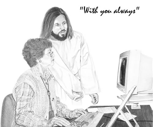 """With you always"": A woman working at a computer, with Jesus helping out"
