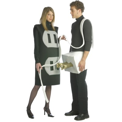 "Hallowe'en his-and-hers ""plug and socket"" costumes"