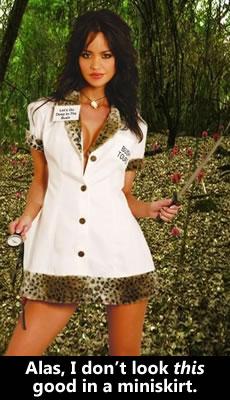 Sexy tour guide in a leopard-fur miniskirt.