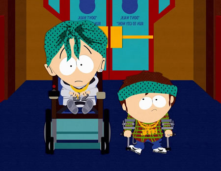 "Timmy and Jimmy from the South Park episode ""Krazy Kripples"""