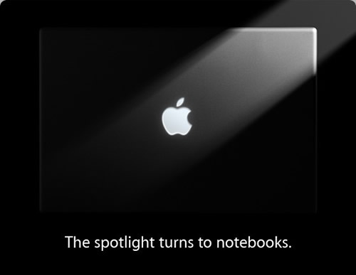 "Apple announcement: ""The spotlight turns to notebooks"""