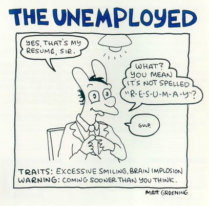 "Panel from a ""Life in Hell"" comic by Matt Groening: ""The Unemployed"""