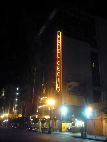 Night shot of the Cecil Hotel