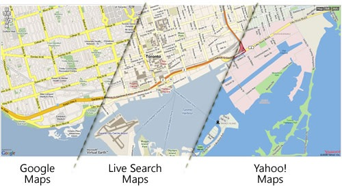 Seamless stitched-together map of Toronto, with the left third rendered by Google Maps, the middle third rendered by Live Search Maps and the right third rendered by Yahoo! Maps