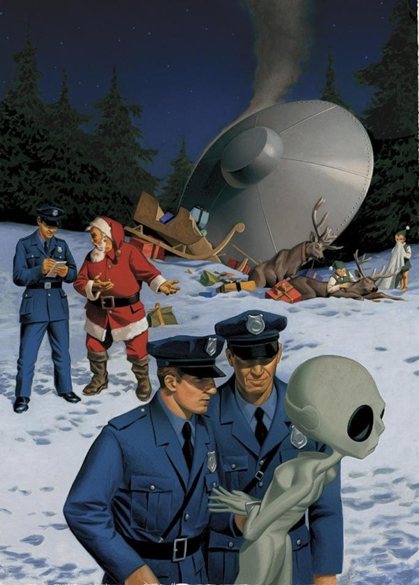 The aftermath of a Santa/U.F.O. collision with Santa filing a report and the cops hauling an alien away