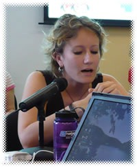 "Danah Boyd giving her ""My Friends, Myspace"" presentation at the Berkman Center in the summer of 2007"