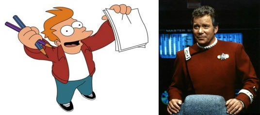 "Philip J. Fry from ""Futurama"" and Captain James T. Kirk"