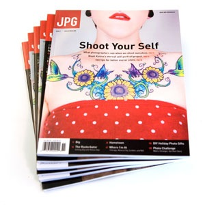 Stack of issues of JPG magazine.