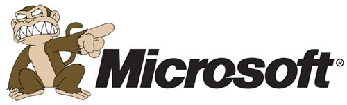 "Microsoft logo, featuring the evil monkey from ""Family Guy"""