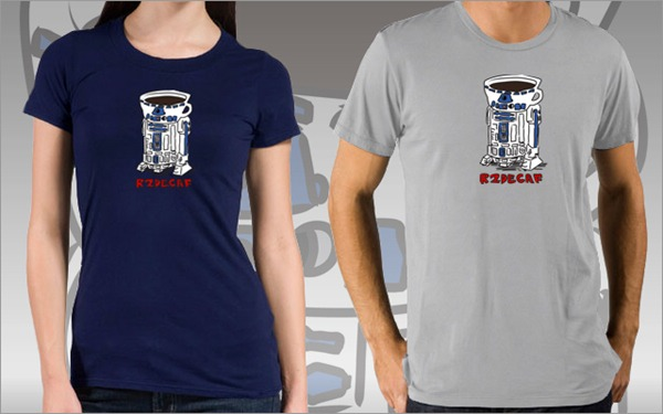 "Blue and grey ""R2Decaf"" t-shirts"