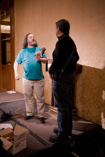 Richard Stallman, Joey deVilla and the plush gnu at CUSEC 2009
