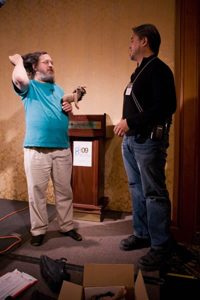 Richard Stallman and Joey deVilla onstage at CUSEC 2009