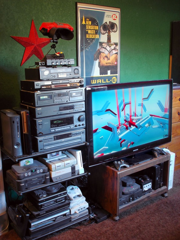 """Videocrab's"" awesome gaming setup, which appears to include every game console from the past 25 years"