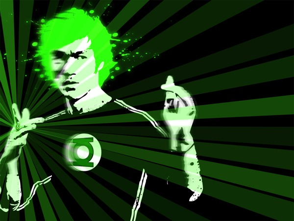 Green Dragon desktop, featuring Bruce Lee as a Green Lantern