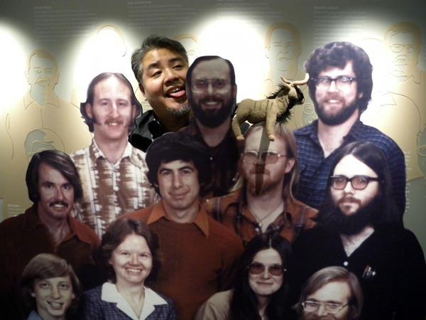 Joey deVilla, his stuffed gnu and a cardboard cutout of Microsoft's founders
