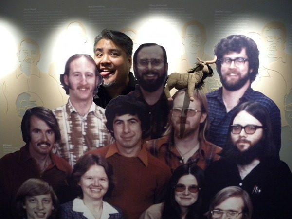 Joey deVilla, his stuffed gnu and a cardboard cutout of Microsoft's founders