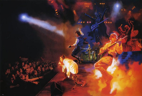 A rock concert featuring Princess Leia on Vocals, Han Solo and Luke Skywalker on guitar, Darth Vader on bass and Chewbacca on drums