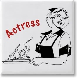 """Actress"" fridge magnet, featuring a picture of a waitress"