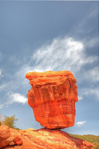 A balancing rock in the desert