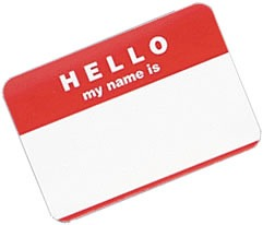 """Hello My Name Is"" sticker"