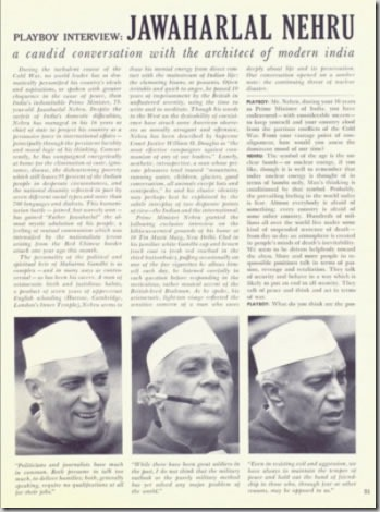 Full-page view of Nehru interview in October 1963 Playboy