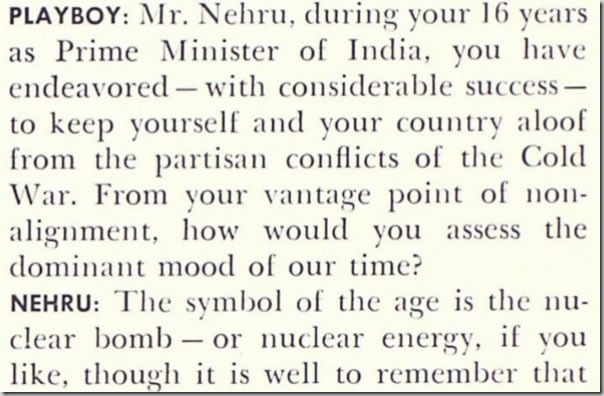 Closeup of Nehru interview text from October 1963 Playboy