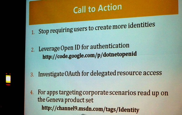 "Colin Bowern's ""Call to Action"" slide"