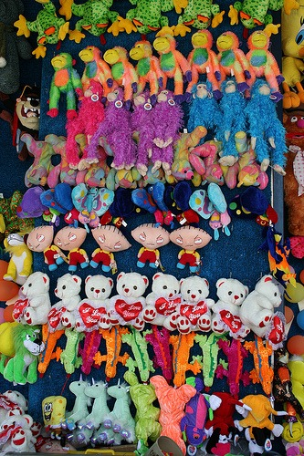 Stuffed animal prizes at a carnival