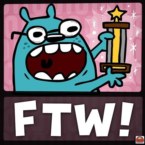 """Goopymart"" comic of a dog holding a trophy: ""FTW!"""