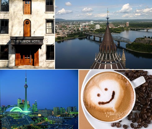 Albion Hotel (Guelph), Ottawa skyline, Toronto skyline, smiling face in the foam of a capuccino