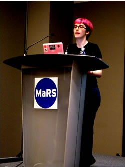 Leigh Honeywell at her presentation at MeshU