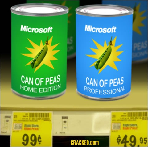 Microsoft Can of Peas Home Edition and Microsoft Can of Peas Professional