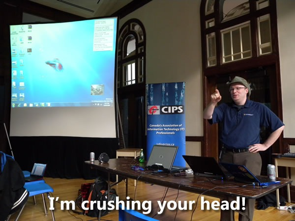"Rick Claus doing his presentation: ""I'm crushing your head!"""
