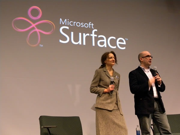 Sara Diamond and Mark Relph onstage at the Mesh Conference 2009