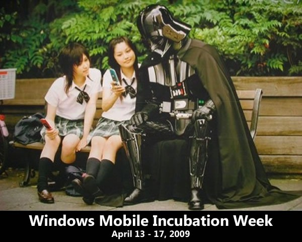 Windows Mobile Incubation Week: April 13 - 17, 2009 -- featuring two Japanese schoolgirls showing their mobile phones to Darth Vader
