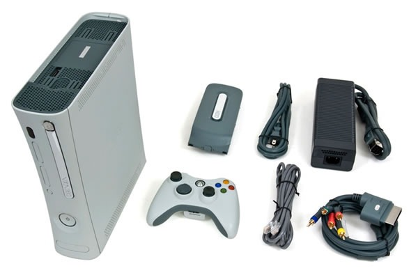 XBox 360, 20GB drive, wireless controller, power supply, ethernet cable, composite video cable